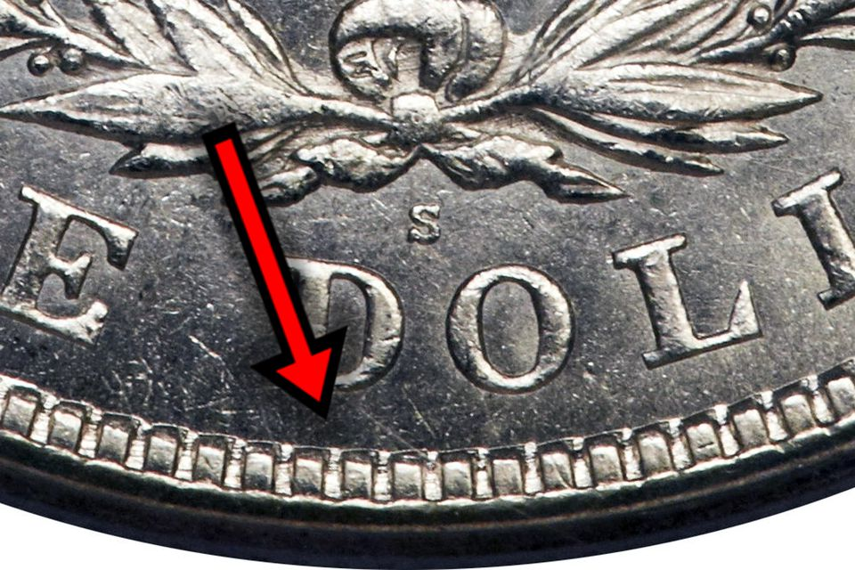 Denticles on a United States silver dollar
