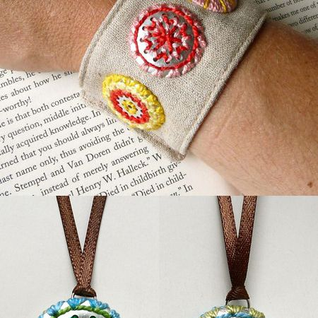 DIY Embroidered Metal Jewelry