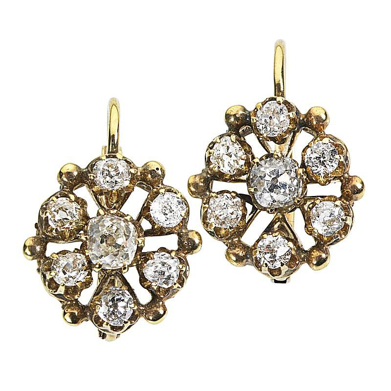 Antique Jewelry Victorian Old Mine Cut Diamond Cer Earrings