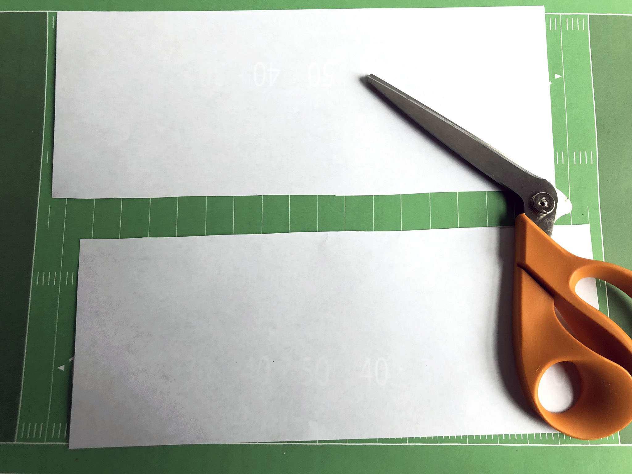 sheet of paper cut in half