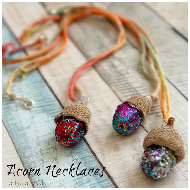 Glitter Acorn Necklace