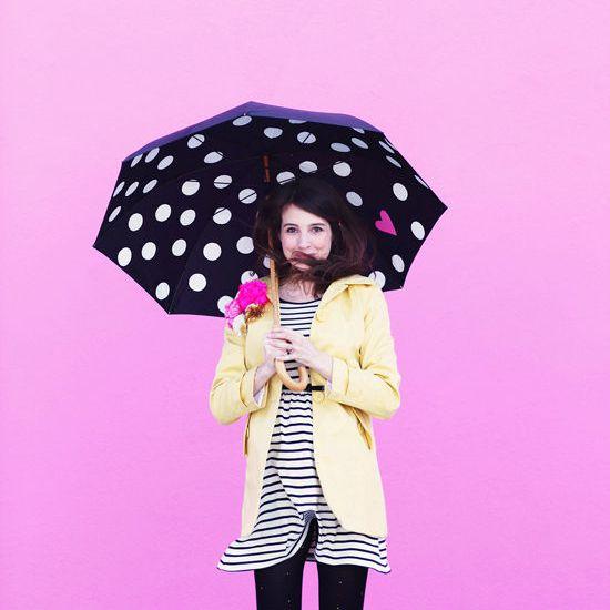 DIY Polka Dots And Heart Umbrella