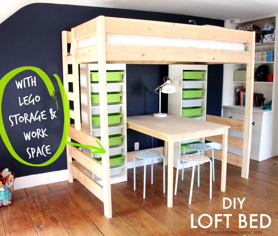 A Loft Bed With Desk And Lego Storage