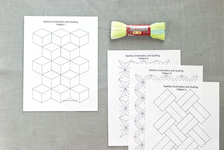 Sashiko Embroidery Patterns Set 1