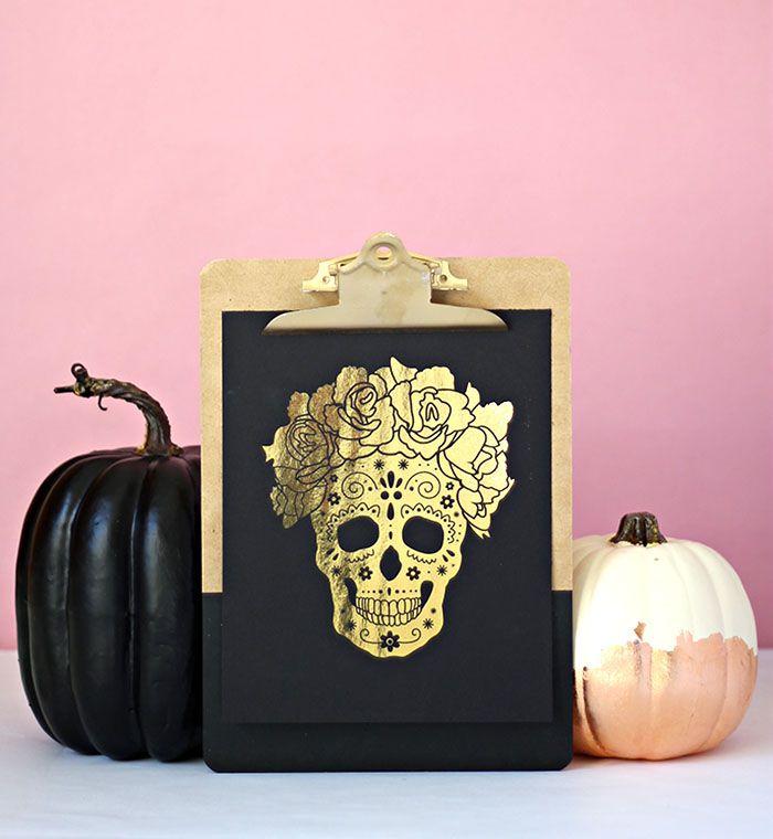 DIY Gold Foil Skull Print
