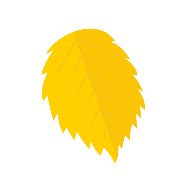 Clip art image of a yellow fall leaf