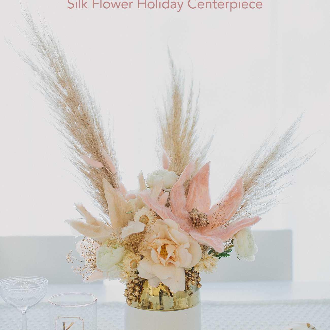 Gold and Pink Flowers Centerpiece