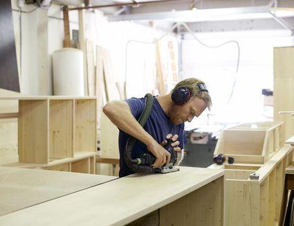 Man working in woodshop