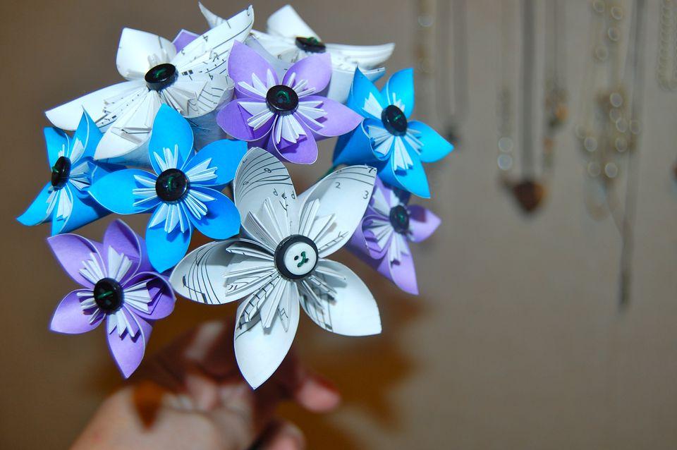 Origami kusudama wedding bouquet