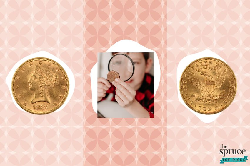 Photo composite of rare coins and a boy looking at a coin through a magnifying glass.
