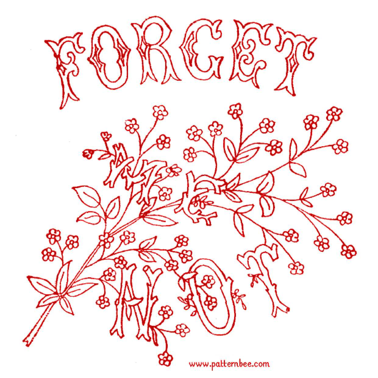Forget Me Not Embroidery Pattern