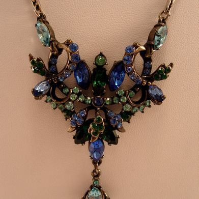 Circa: 1950s Hollycraft Blue & Green Rhinestone Necklace