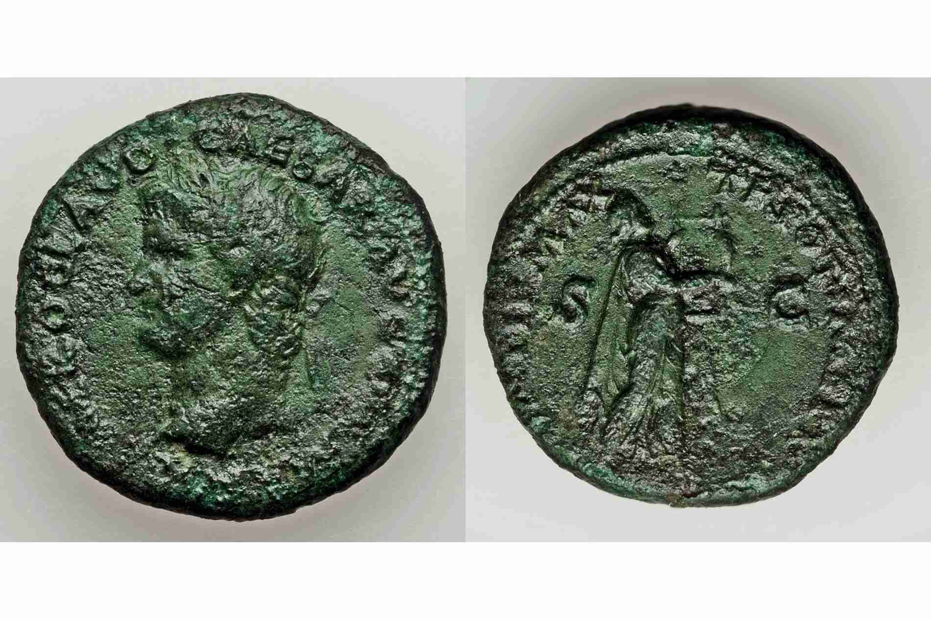 Ancient Copper Coin with Green Oxidation