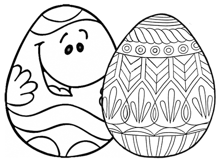 Two Easter Eggs One With A Face Coloringws