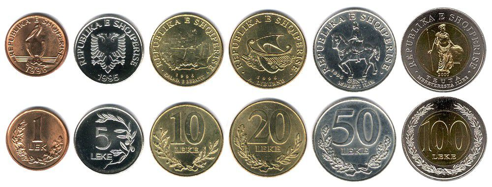 These coins are currently circulating in Albania as money.