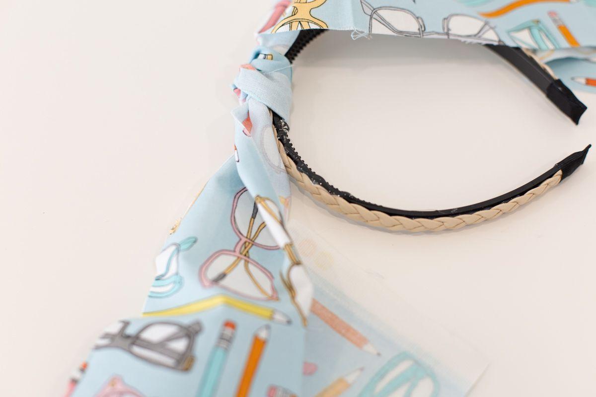 Fabric being glued onto a headband