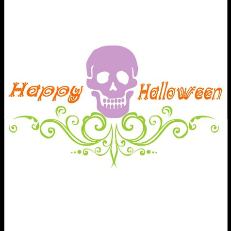 A Halloween card with a purple skull on it.