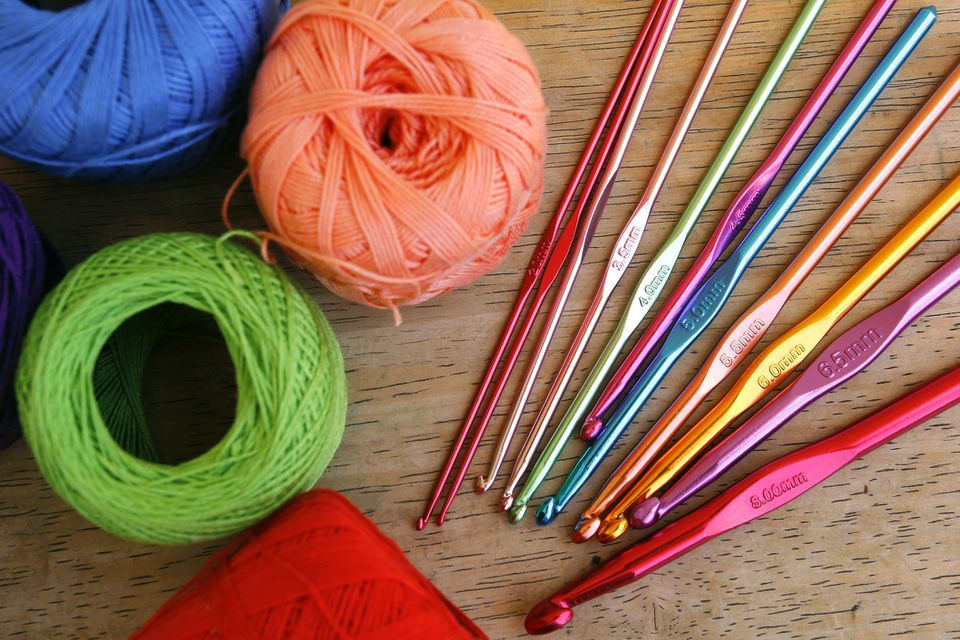 Crochet thread and needles