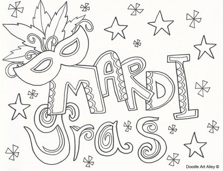 A Mardi Gras Coloring Page Doodle Art Alley