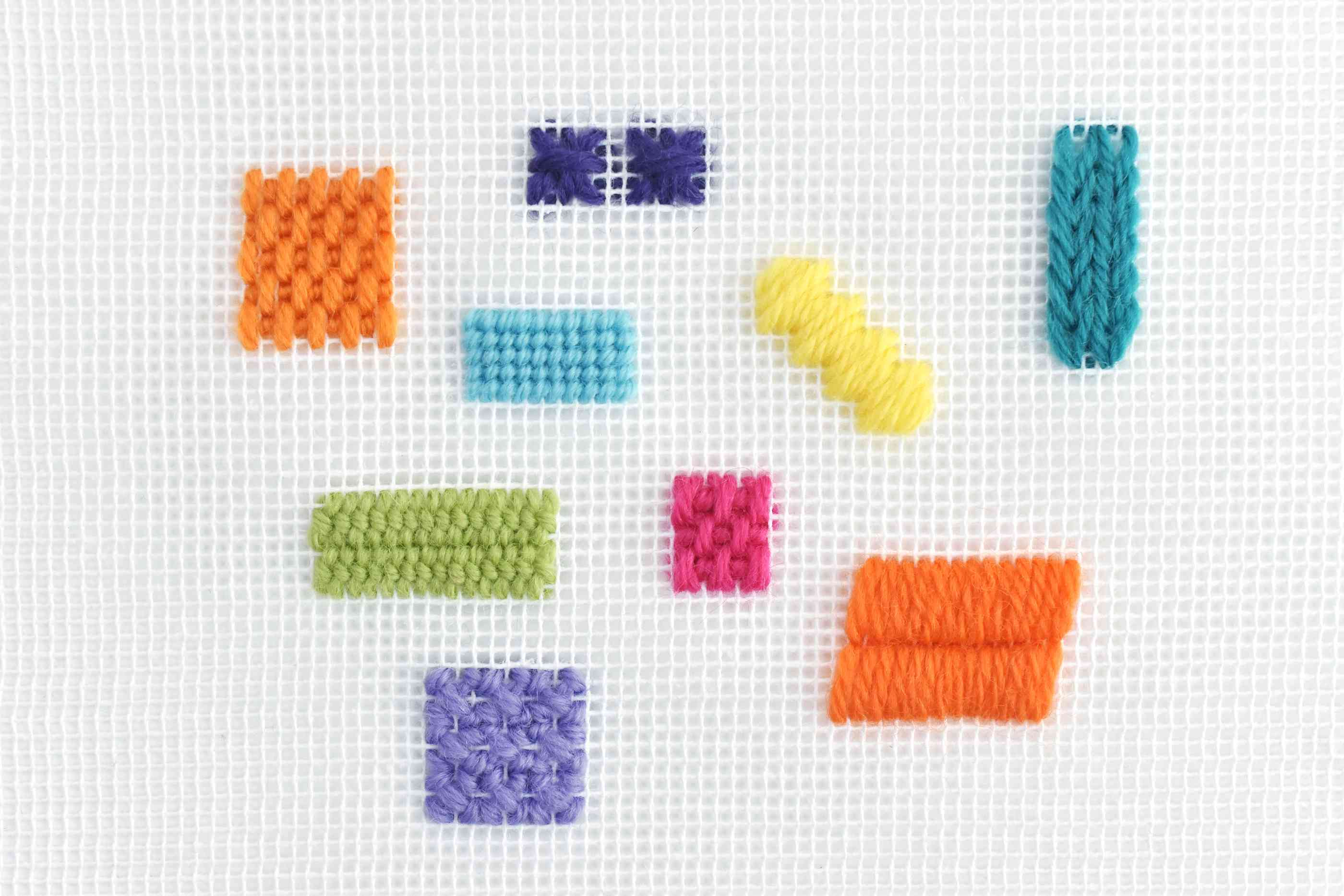 9 Needlepoint Stitches in Bright Colors