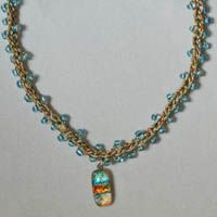 Beaded Crochet Necklace With Dichroic Glass Pendant