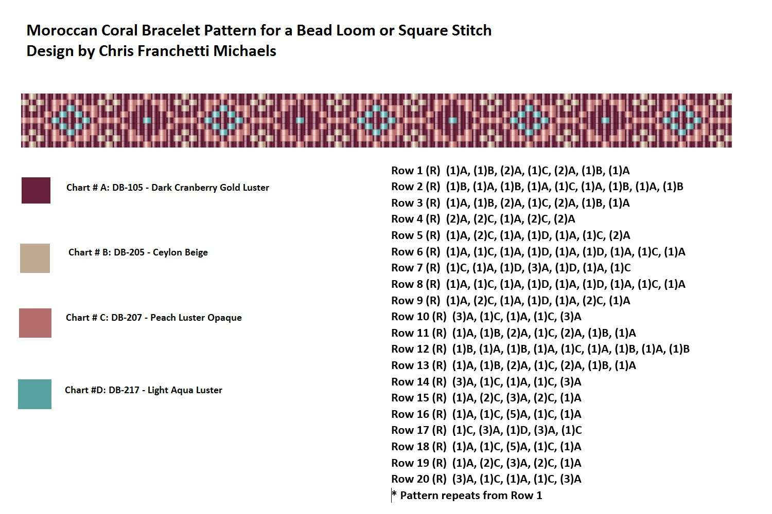 How To Bead From A Loom Pattern And Chart