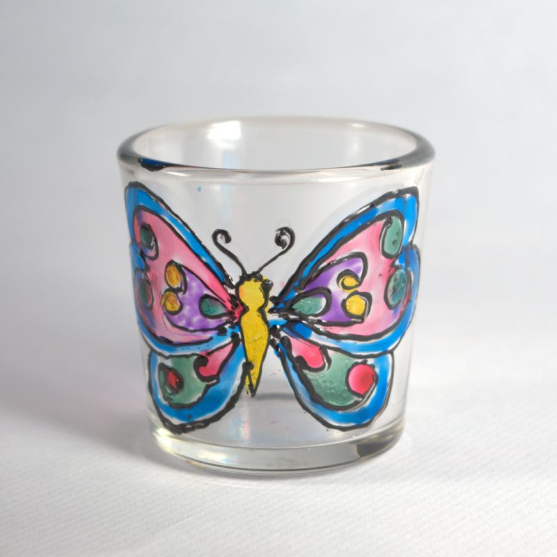 Rubber stamped glass