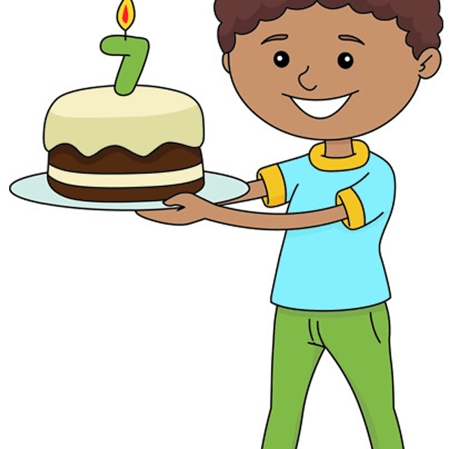 Clip Art Of A Boy Holding Birthday Cake