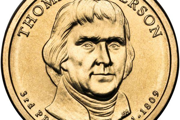 Presidential $1 Coin Program coin for Thomas Jefferson. Obverse.