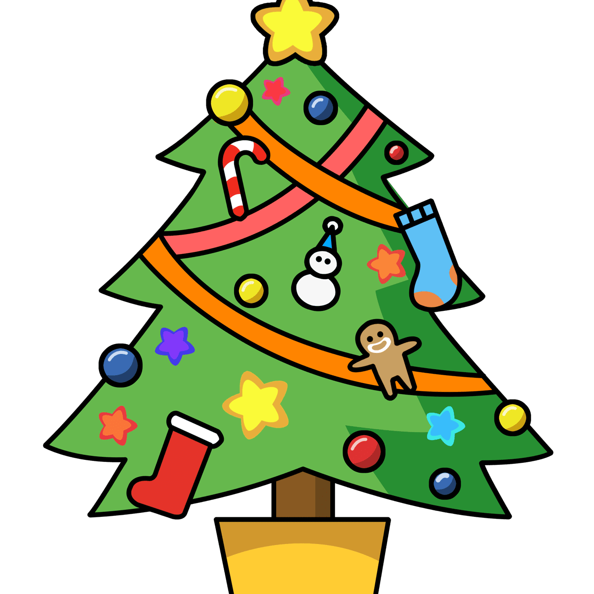 a christmas tree decorated with homemade ornaments clipart panda