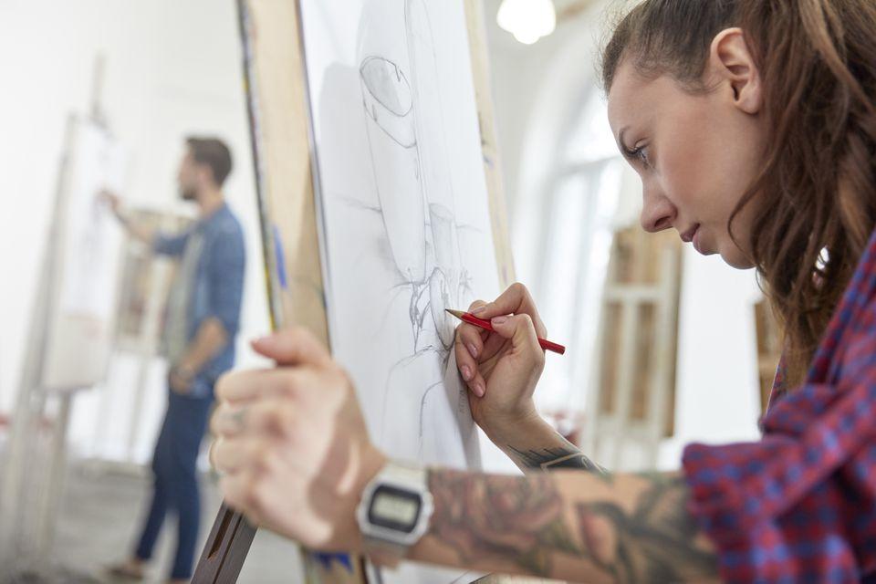 artist sketching in a studio