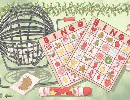Illustration of Christmas bingo cards next to a bingo cage.