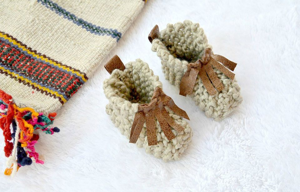 Beginner Knit Baby Moccasins