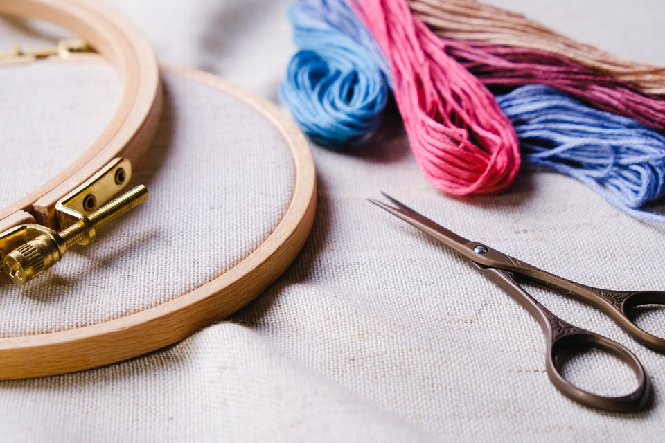 Embroidery set. White linen fabric, embroidery hoop, colorful threads and needls. Copy space