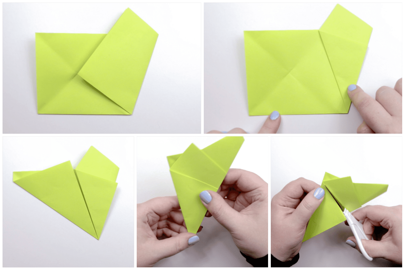 Folding the yellow paper and using scissors to cut a flap.