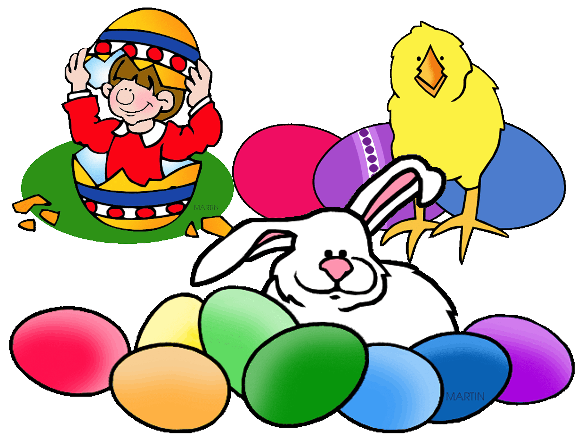 Easter clip art of bunnies, chicks, and eggs