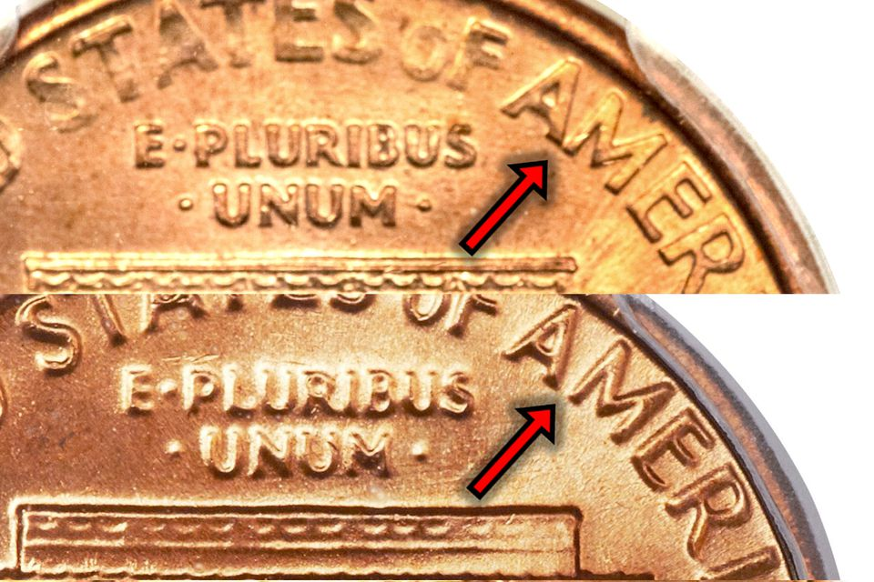 1992-D Lincoln Cent Close AM Variety Compared to the Wide AM Reverse