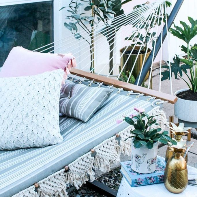 hammock with macrame trim