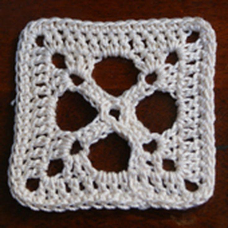 Criss Cross Thread Crocheted Granny Square Pattern