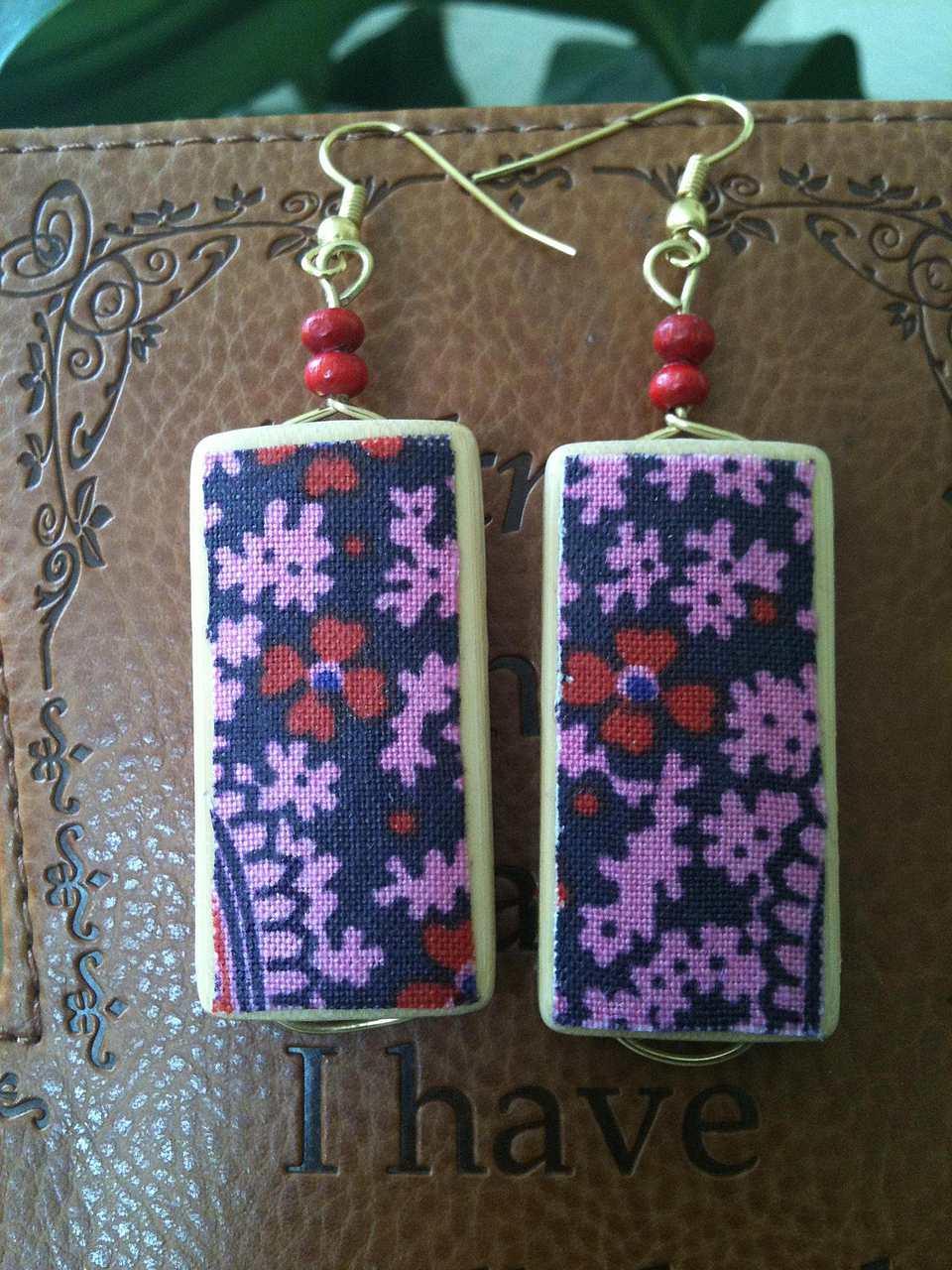 Liberty Fabric Bamboo Wood Earrings