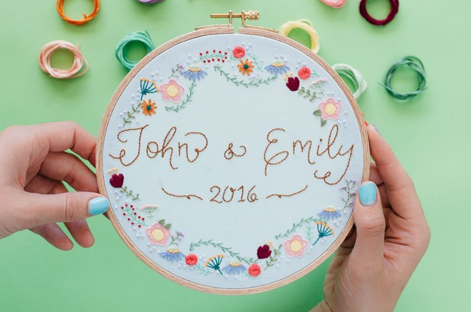 Embroidered wedding hoop