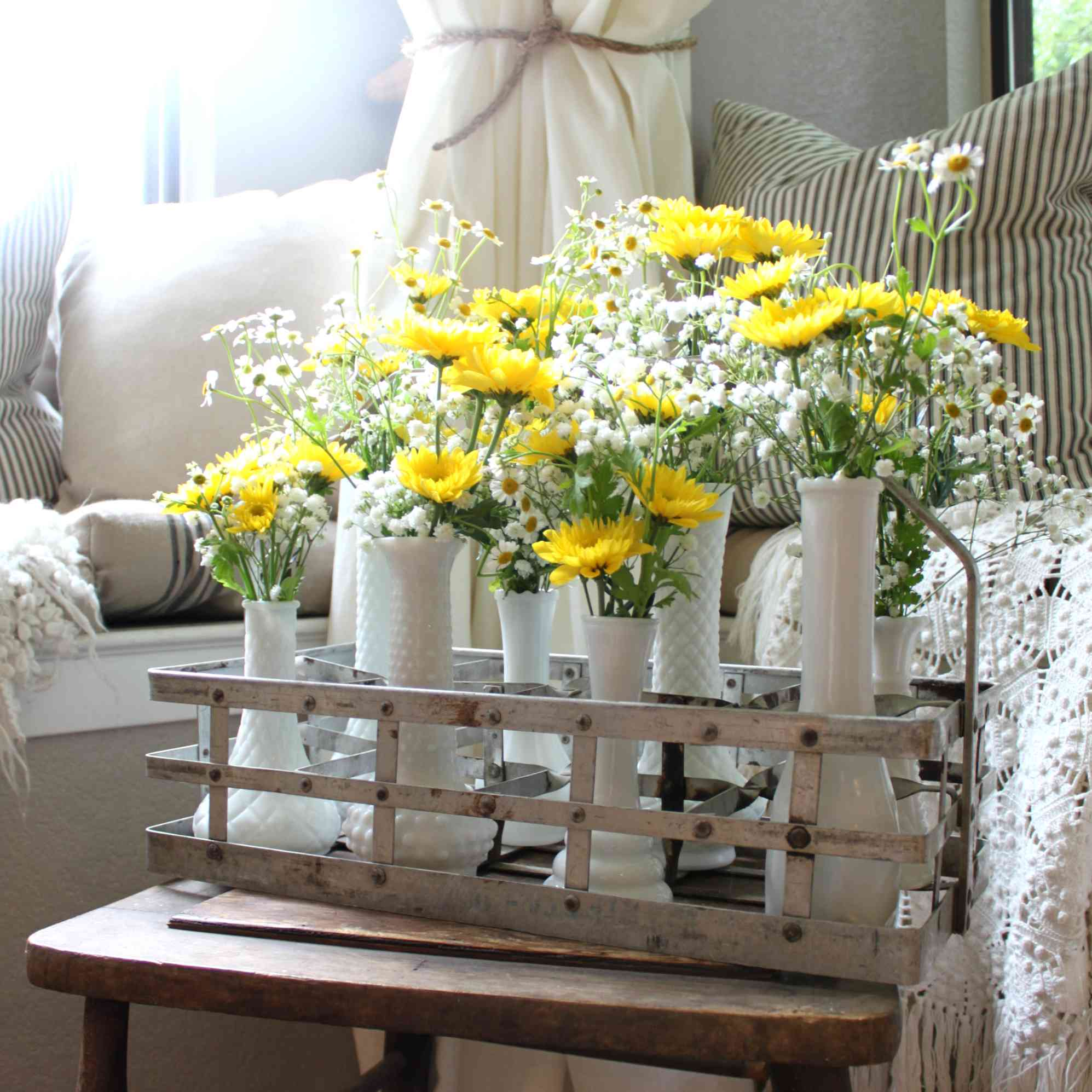 vintage vase flower arrangement