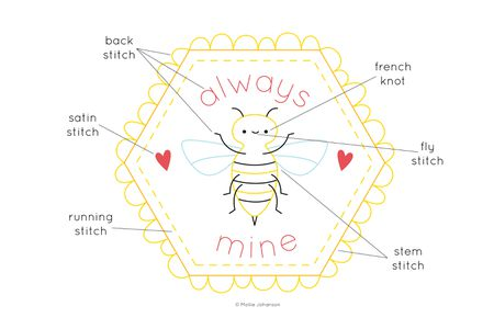 Always Bee Mine Free Hand Embroidery Pattern