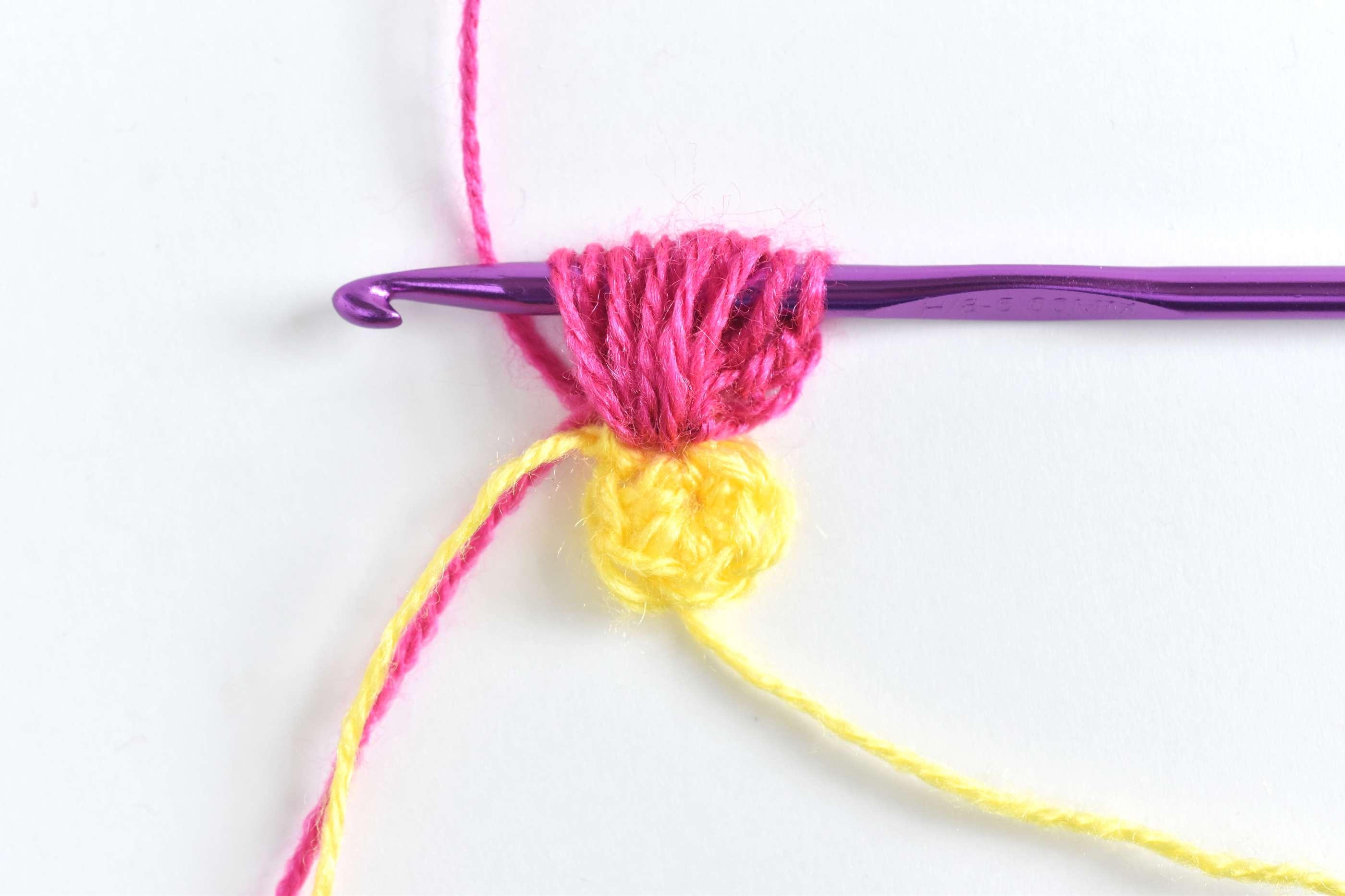 Crochet loops on a hook making a puff stitch petal