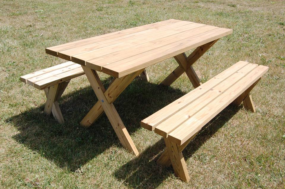 Picture of a picnic table on grass
