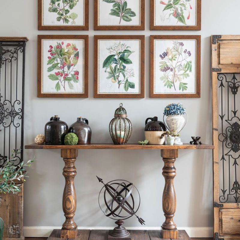 A console table in a decorated living room