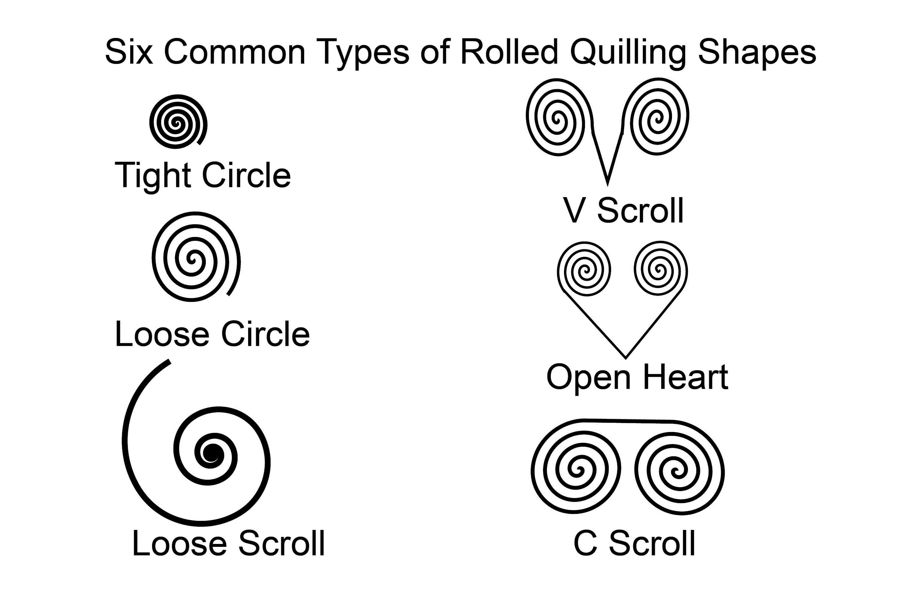 common quilled paper shapes