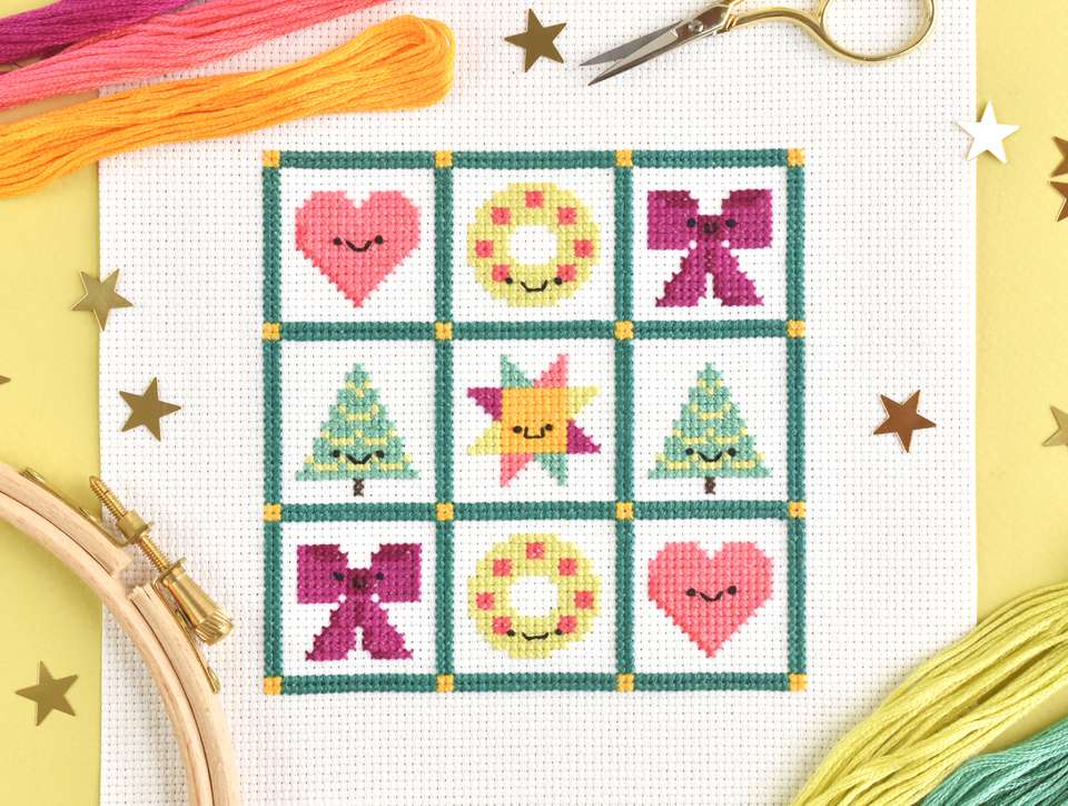 Kawaii Christmas Quilt Mini Sampler Cross Stitch