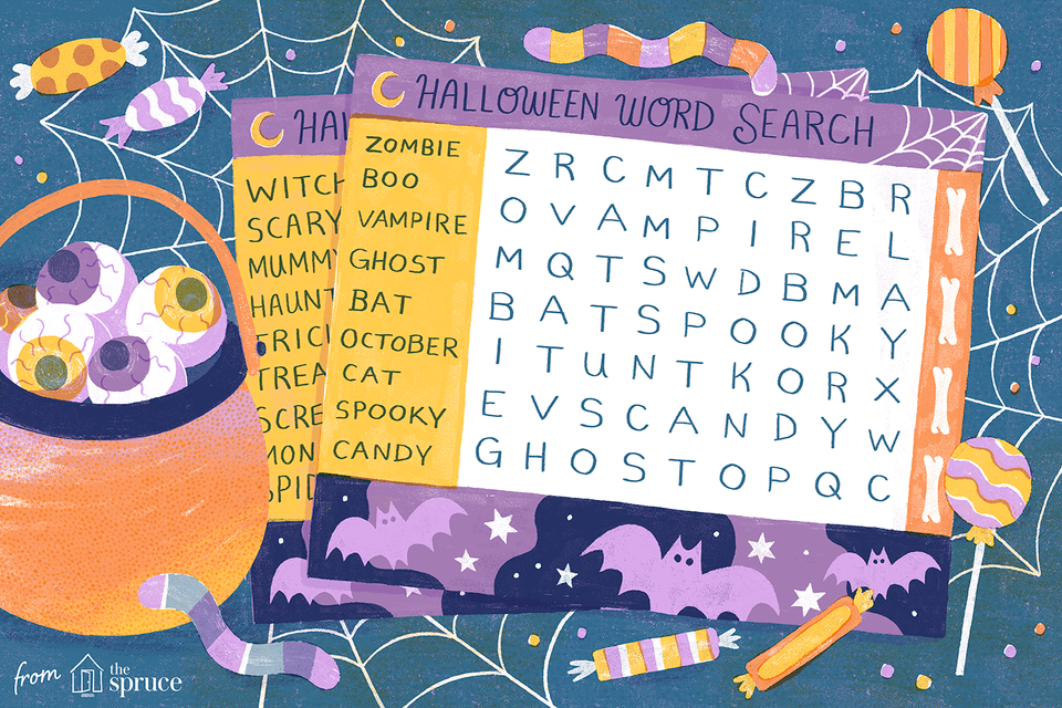 Illustration of Halloween crossword puzzle