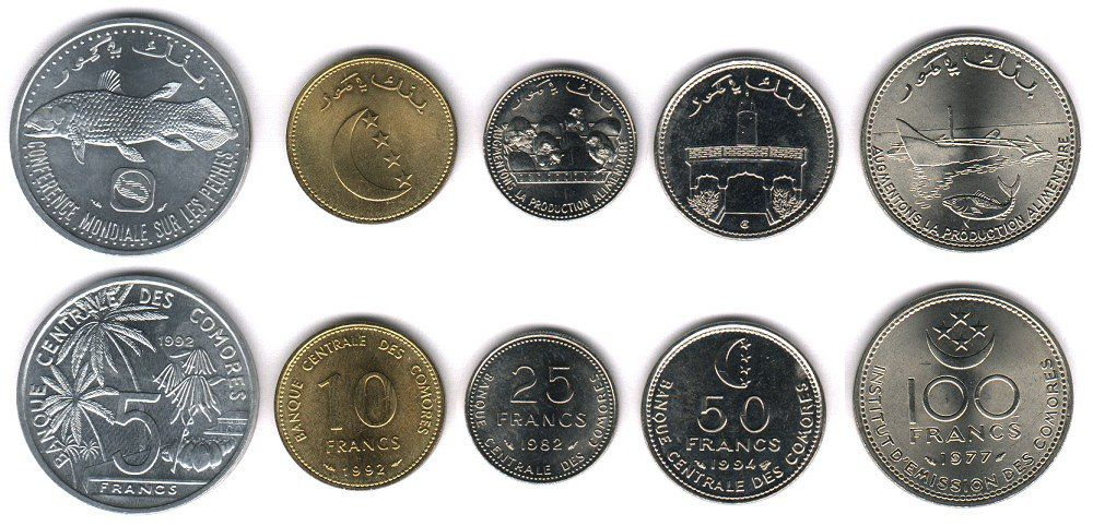 These coins are currently circulating in Comoros as money.